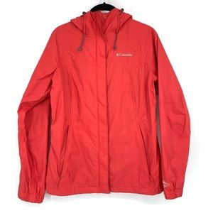 Columbia Red Hooded Water Resistant Jacket